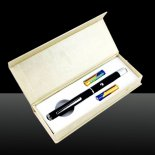 200MW 405nm Adjustable Beam Purple Laser Pointer Black (2 x AAA)>