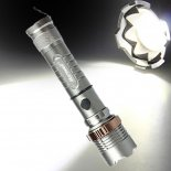 2000lm 3-Mode Waterproof Lotus Head LED Flashlight Suit UK Plug Grey>