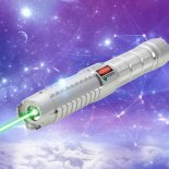 10000mW High Power Attacked Head Green Light Laser Pointer Suit Silver>