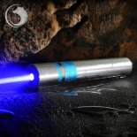 UKing ZQ-j11 6000mW 473nm Blue Beam Single Point Zoomable Laser Pointer Pen Kit Chrome Plating Shell Silver
