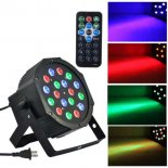 18-LED Red & Green & Blue Luz Voice Control Parcan lâmpada do projetor com controle remoto Preto>