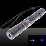 50mW Extension-Type Focus Purple Dot Pattern Facula Laser Pointer Pen with 18650 Rechargeable Battery Silver