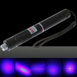 1000mW Focus Starry Pattern Blue Light Laser Pointer Pen with 18650 Rechargeable Battery Black