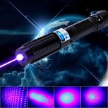 30000mW 450nm Blue Beam Light 5-in-1 Laser Pointer Pen Kit Black
