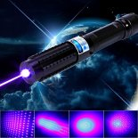 30000mW 450nm Blue Beam Light 5-em-1 Laser Pointer Pen Kit Preto