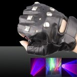 300mw 650nm & 405nm Red & Purple Light Color Swirl Light Style Rechargeable Laser Glove Black Free Size>