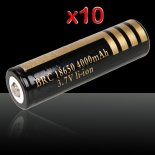 10pcs Ultrafire 18650 4000mAh 3.6-4.2V Batterie Lithium rechargeable Noir