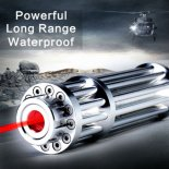 UKING ZQ-15H 2000mW 650nm Red Beam Single Point Zoomable Laser Pointer Pen Argento>