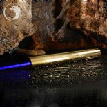 Uking ZQ-15B 8000mW 445nm blaue Lichtstrahl-5-in-1-Zoomable High Power Laser-Pointer Pen Kit Goldene