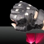 400mw 650nm Dual Red Light Color Swirl Light Style Rechargeable Laser Glove Black Free Size>
