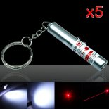 5Pcs 2 in 1 5mW 650nm Laser Pointer Pen Argento Surface (Red Laser + LED torcia elettrica)>