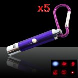 5Pcs 5 in 1 5mW 650nm Red Laser Pointer Pen Blue Surface (Five Change Design Lasers + LED Flashlight)