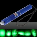5mW Focus Starry Pattern Green Light Laser Pointer Pen with 18650 Rechargeable Battery Blue>