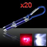 20pcs 2 in 1 5mW 650nm rot Laserpointer Blau (Red Laser + LED-Taschenlampe)>