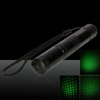 RL851 200mW 532nm Tail-Button Kaleidoscopic Green Laser Pointer Pen Black