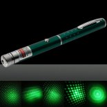 1mW 532nm Green Beam Light Starry Light Style Middle-open Laser Pointer Pen with 5pcs Laser Heads Green>