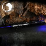UKing ZQ-j8 10000mW 445nm Blue Beam 3-Mode Zoomable 5-in-1 Laser Pointer Pen Kit Black