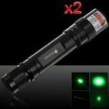 2Pcs 50mW 532nm High Power Flashlight Style Green Laser Pointer>