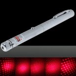 30mW Middle Open Starry Pattern Red Light Naked Laser Pointer Pen Silver>