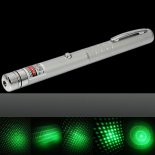 1mW 532nm Green Beam Light Starry Light Style Middle-open Laser Pointer Pen with 5pcs Laser Heads Silver