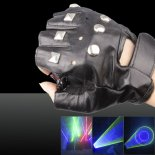 100mw 532nm/405nm Green & Purple Light Color Swirl Light Style Rechargeable Laser Glove Black Free Size>