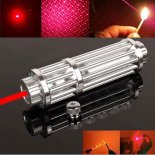 Uking ZQ-15HB 3000mW 650nm Red feixe Zoomable 5-em-1 Laser Pointer Pen Kit de prata