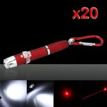 20Pcs 3 in 1 5mW 650nm Projective Red Laser Pointer Pen Flashlight Keychain Red>