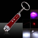3 in 1 LED 5mW Red Laser Pointer Pen with Keychain Red>