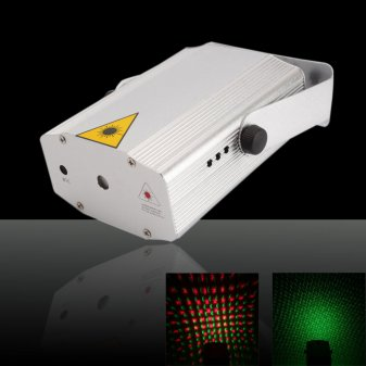 100V~220V Mini Voice-activated Red & Green Laser Stage lighting Light Silver & White