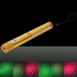200mW Red & Green Starry Stainless Steel Laser Pointer Pen Kit with Battery & Charger & Key Golden