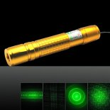 50mW 532nm Check Pattern 5-Mode Green Beam Light Zooming Laser Pointer Pen Kit Golden>