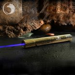 U'King ZQ-15B 5000mW 445nm blaue Lichtstrahl-5-in-1-Zoomable High Power Laser-Pointer Pen Kit Goldene