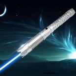 U'King ZQ-J88 3000mW 445nm blaue Lichtstrahl-3-Mode Zoomable High Power Laser Schwert Laserpointer Kit Silber