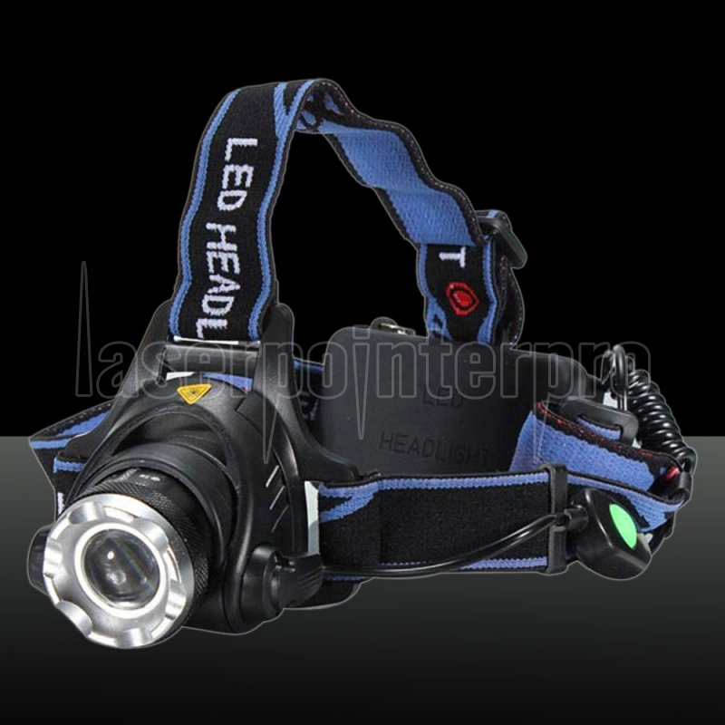 T6 1800lm 3 Mode Zoomable Blue Light Led Headlamp Blue