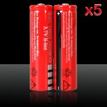 5pcs 3.7V 3000mAh UltraFire 18650 Li-ion recarregável Red>