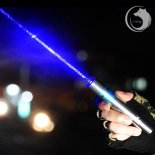 UKing ZQ-j11 4000mW 473nm Blue Beam Single Point Zoomable Laser Pointer Pen Kit Chrome Plating Shell Silver