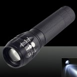 XM-L Q5 450LM 3 Modes IPX4 Waterproof Stretchable White Light LED Flashlight with Bracket Black