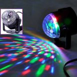3W LED RGB Crystal Ball Shaped Luz de Palco Black & tampa transparente>