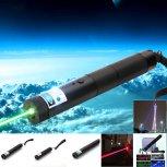 Multifuncional 3-en-1 10000mW Azul & Verde y Rojo Laser Beam Zooming Láser Puntero Pluma Negro