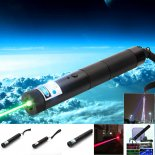 Multifuncional 3-em-1 10000mW Blue & Green & Red Laser Beam Zooming Laser Pointer Pen Black
