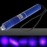 200mW Focus Starry Pattern Pure Blue Light Laser Pointer Pen with 18650 Rechargeable Battery Blue>