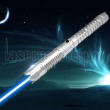 U'King ZQ-J8 3000mW 445nm Blue Beam 3-Mode Zoomable 5-em-1 Laser Pointer Pen Kit de prata