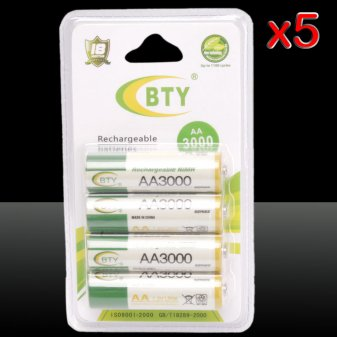 5*4pcs BTY AA 1.2V 3000mAh Rechargeable Ni-MH Batteries