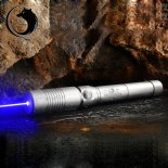 Uking ZQ-j9 8000mW 445nm Blue Beam Ponto Único Zoomable Laser Pointer Pen Kit de prata>