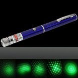 1mW 532nm Green Beam Light Starry Light Style Middle-open Laser Pointer Pen with 5pcs Laser Heads Blue>