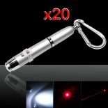 20Pcs 3 in 1 5mW 650nm Red Laser Pointer Pen with Silver Surface (Red Lasers + LED Flashlight + Writing)>