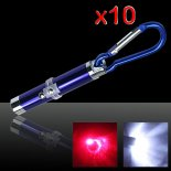 10pcs 2 in 1 5mW 650nm Laser Pointer Pen Blu (Red Laser + LED torcia elettrica)>