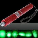 50mW Focus Starry Pattern Green Light Laser Pointer Pen with 18650 Rechargeable Battery Red>