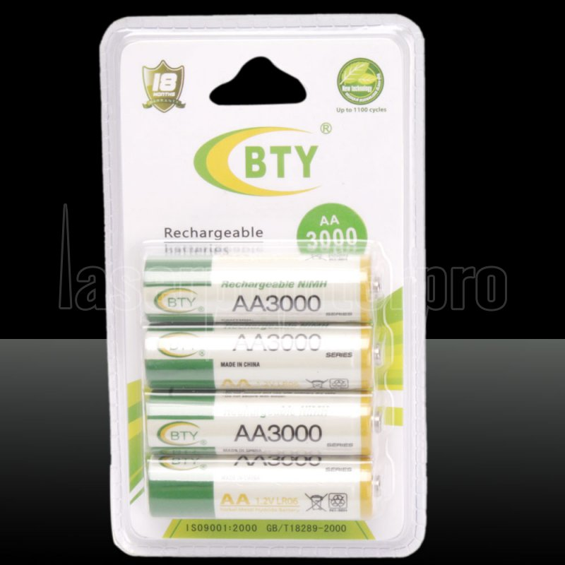4pcs Bty Aa 1 2v 3000mah Rechargeable Ni Mh Batteries