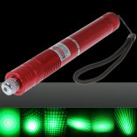 100mW Focus Starry Pattern Green Light Laser Pointer Pen with 18650 Rechargeable Battery Red>